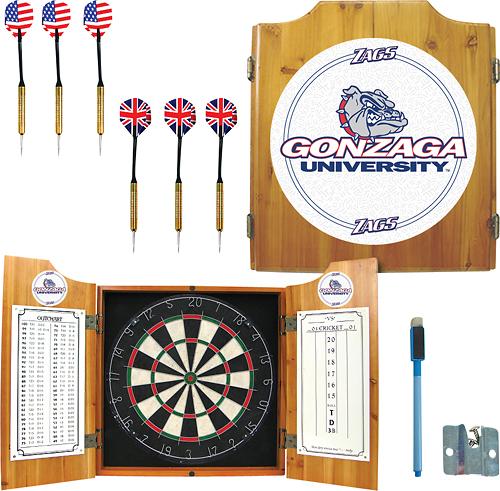 Trademark Games - Gonzaga Solid Pine Dart Cabinet Set - Brown