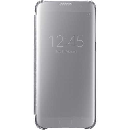 Samsung - S-View Flip Cover Flip Cover for Galaxy S7 edge - Silver