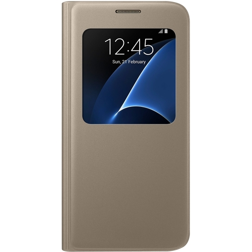 Samsung - S-View Flip Cover Flip Cover for Galaxy S7 - Gold