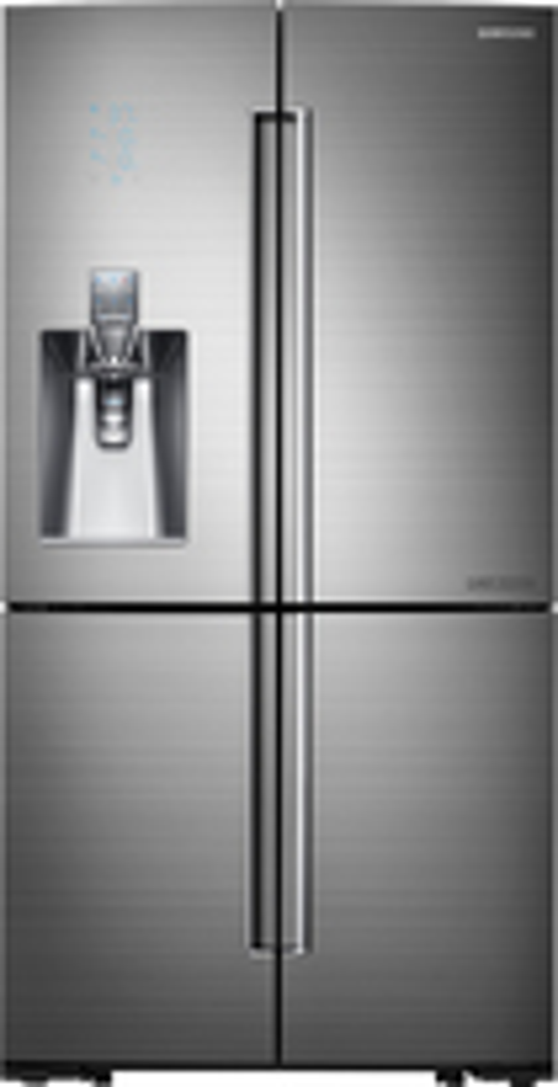 Samsung - Chef Collection 24.1 Cu. Ft. Counter-Depth 4-Door French Door Refrigerator with Thru-the-Door Ice and Water - Stainless-Steel