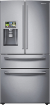 Samsung - 28.2 Cu. Ft. 4-Door French Door Smart Refrigerator with Thru-the-Door Ice and Water - Stainless-Steel