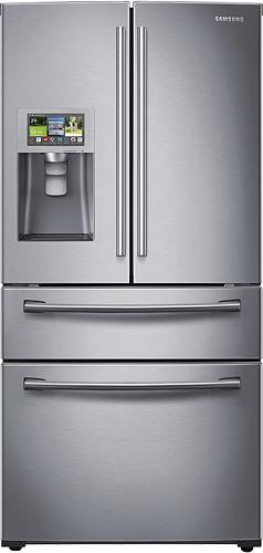 Samsung - 28.2 Cu. Ft. 4-Door French Door Smart Refrigerator with Thru-the-Door Ice and Water - Stainless-Steel