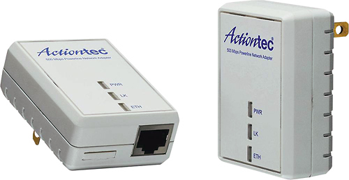 Actiontec 500 Mbps Powerline Home Theater Network Adapter Kit White PWR511K01