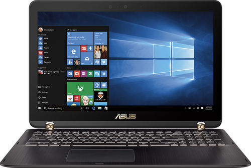 Asus - 2-in-1 15.6 4K Ultra HD Touch-Screen Laptop - Intel Core i7 - 16GB Memory - 2TB HDD + 512GB SSD - Chocolate black aluminum hairline with dark copper