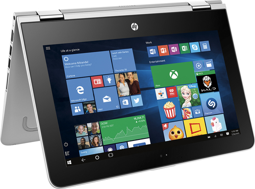 HP - Pavilion 2-in-1 11.6 Touch-Screen Laptop - Intel Pentium - 4GB Memory - 500GB Hard Drive - Natural silver, Ash silver with horizontal brus...