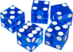 Trademark - A Grade Serialized Casino 5-dice Set - Blue 5217994