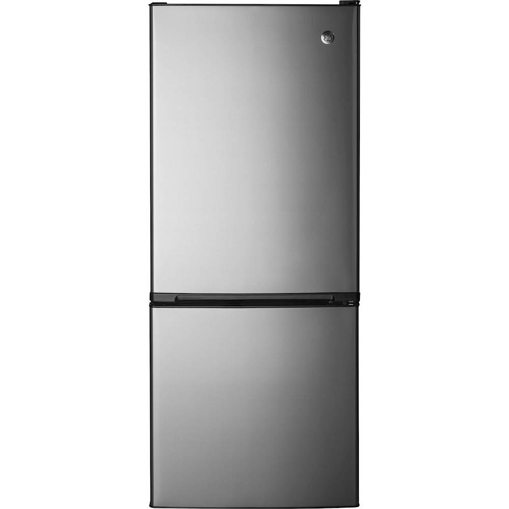 GE - 10.5 Cu. Ft. Bottom-Freezer Counter-Depth Refrigerator - Stainless steel (Silver)