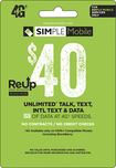 Simple Mobile - $40 ReUp Prepaid Card - Green