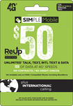 Simple Mobile - $50 ReUp Prepaid Card - Green