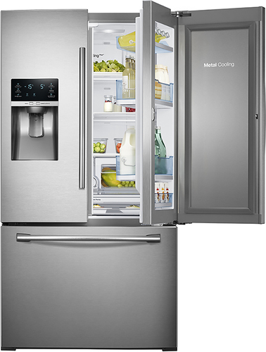 Samsung - Showcase 27.8 Cu. Ft. French Door Refrigerator with Thru-the-Door Ice and Water - Stainless Steel