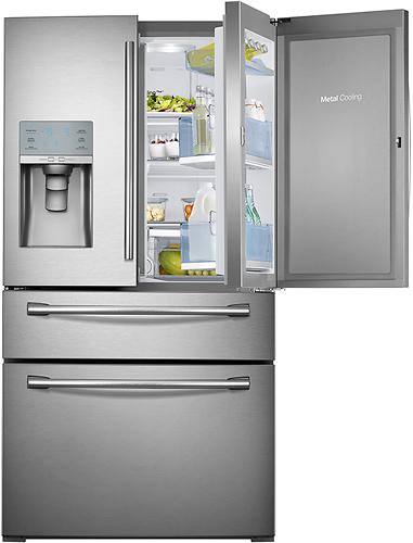 Samsung - Showcase 29.5 Cu. Ft. 4-Door French Door Refrigerator with Thru-the-Door Ice and Water - Stainless-Steel