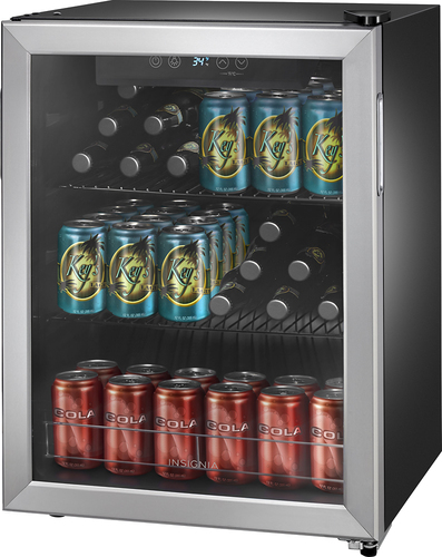 Insignia - 78-Can Beverage Cooler - Stainless steel/Silver - Larger Front