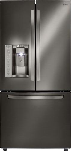 LG - 24.2 Cu. Ft. French Door Refrigerator - Black stainless steel