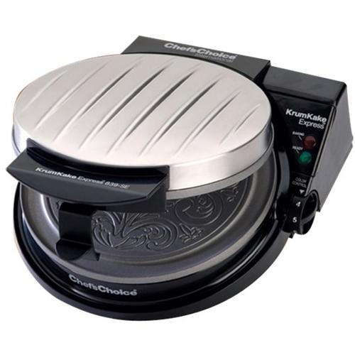 Chef'schoice - Krumkake Express Krumkake Waffle Maker - Black/silver 5271301