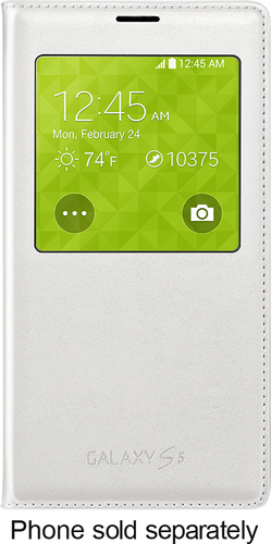Samsung - S-View Flip Cover for Samsung Galaxy S 5 Cell Phones - White