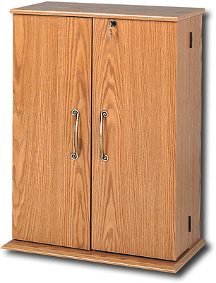 Prepac OVS-0136 Oak Small Locking Media Storage Cabinet