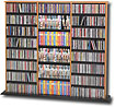 PREPAC - Triple-Width Library-Style Media Shelves - Oak and Black