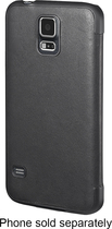 Platinum - Leather Flip Case for Samsung Galaxy S 5 Cell Phones - Black
