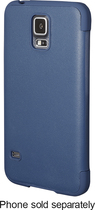 Platinum - Leather Flip Case for Samsung Galaxy S 5 Cell Phones - Blue