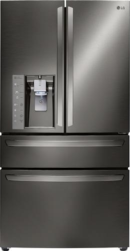 LG - 22.7 Cu. Ft. Counter-Depth 4-Door French Door Refrigerator with Thru-the-Door Ice and Water - Black Stainless Steel