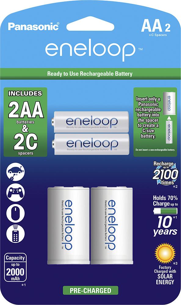 Panasonic - eneloop Rechargeable AA Batteries (2-Pack) - White
