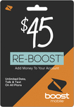 Boost Mobile - $45 Re-boost Prepaid Phone Card