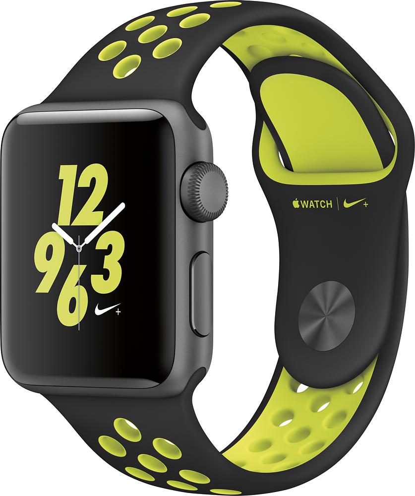 Apple - Apple Watch Nike+ 38mm Space Gray Aluminum Case Black/volt Nike Sport Band - Space Gray Aluminum 5547100