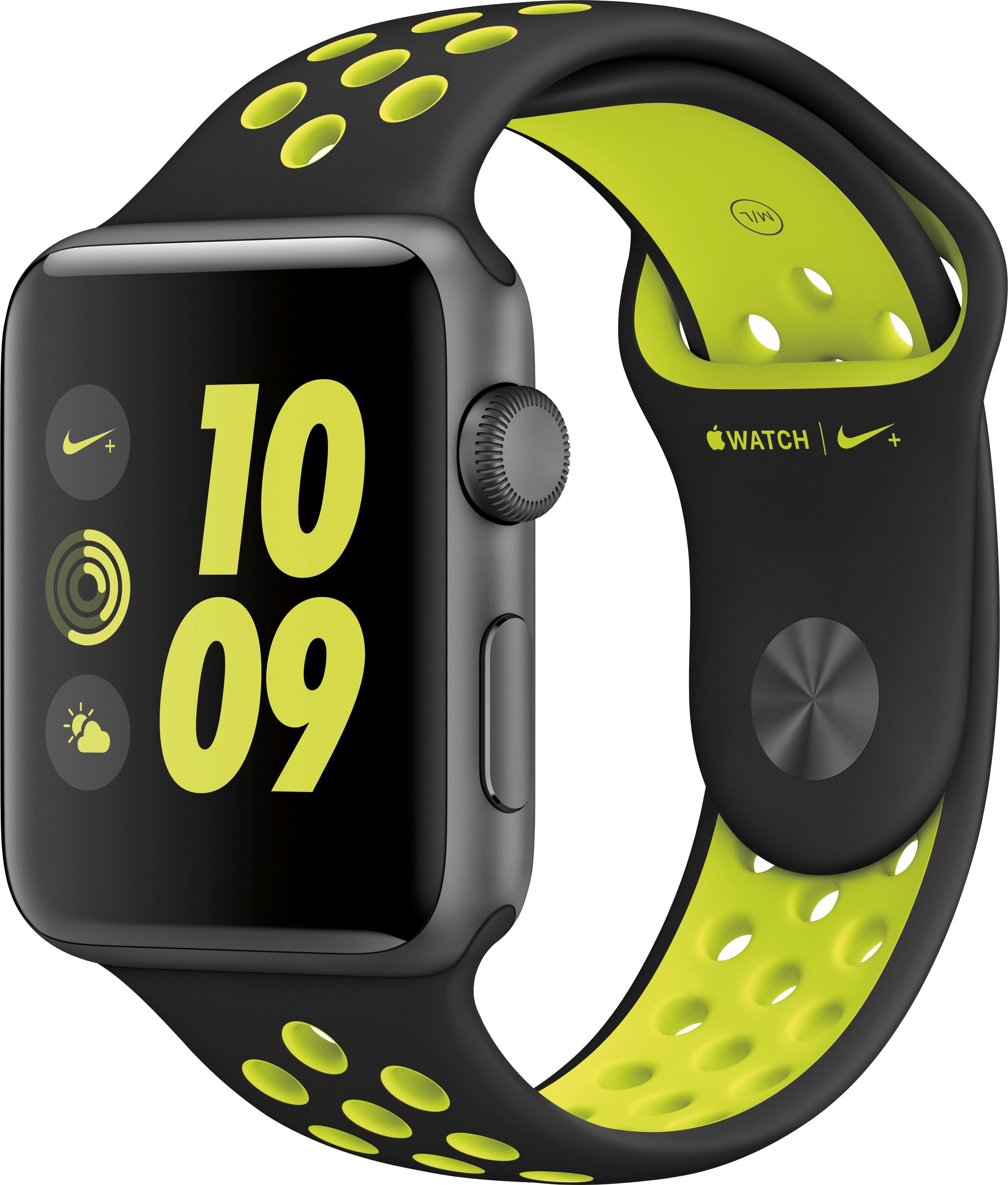 Apple - Apple Watch Nike+ 42mm Space Gray Aluminum Case Black/volt Nike Sport Band - Space Gray Aluminum 5547500