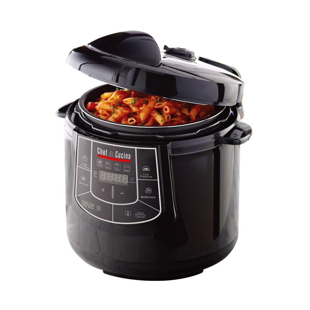 Chef Di Cucina - 6.3-Quart Pressure Cooker - Black gloss