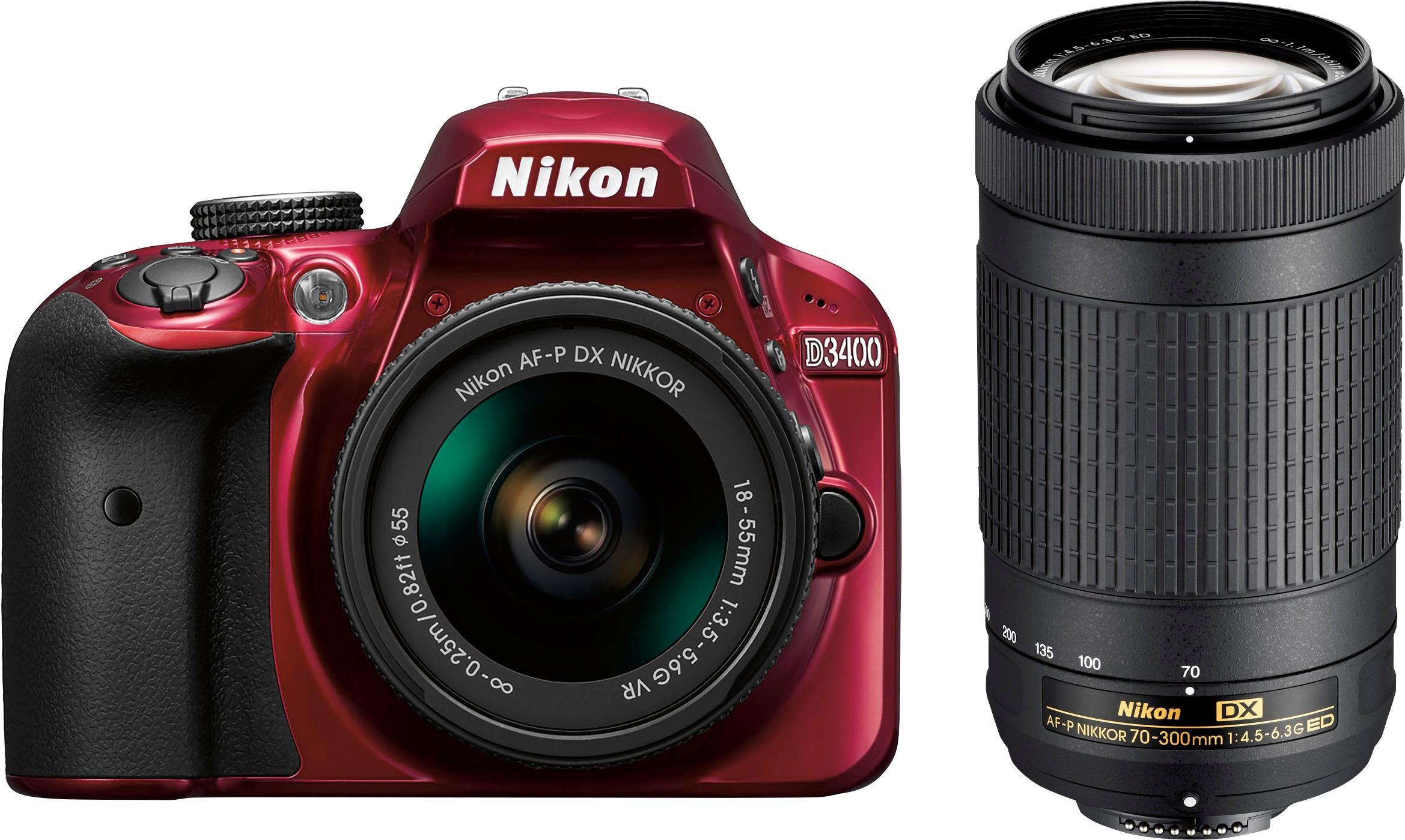 Camera Nikon Smallest Dslr Camera small dslr cameras best buy nikon d3400 camera with af p dx 18 55mm g vr and 70 300mm ed lenses red