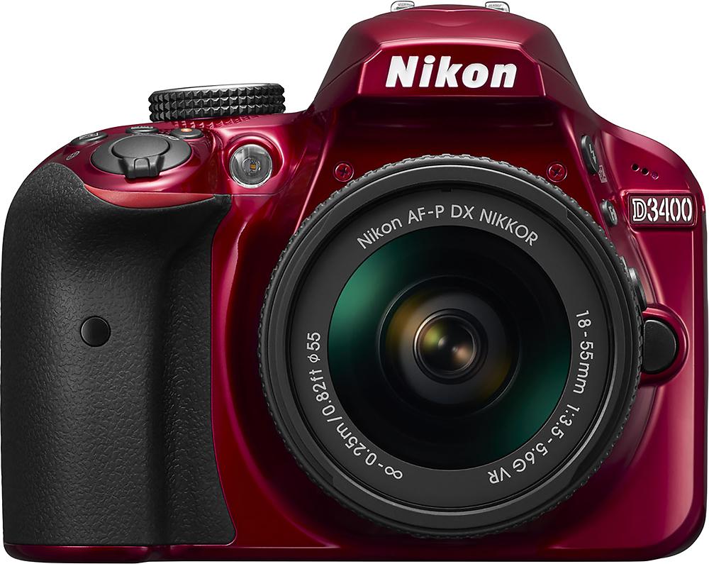 Nikon - D3400 Dslr Camera With Af-p Dx Nikkor 18-55mm F\/3.5-5.6g Vr Lens - Red