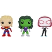 Funko - Marvel Pop! Vinyl Collectors Set: Unmasked Captain Marvel, She-hulk And Spider Gwen - Multi 5580257