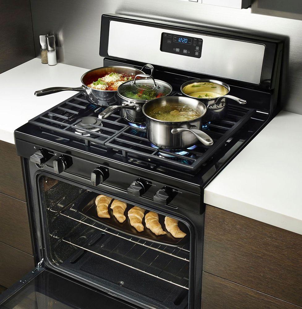Whirlpool 5 burner gas range - Whirlpool 5 1 Cu Ft Freestanding Gas Range Silver Wfg505m0bs Best Buy
