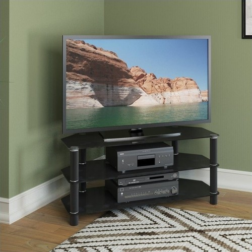 CorLiving - Trinidad TV Stand for Select Flat-Panel TVs - Black