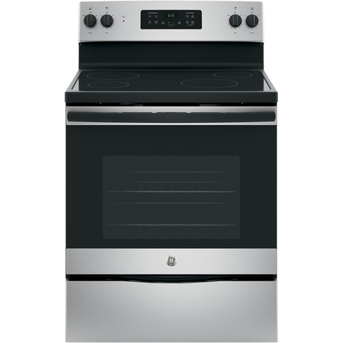 GE - 5.3 Cu. Ft. Self-Cleaning Freestanding Electric Range - Stainless steel