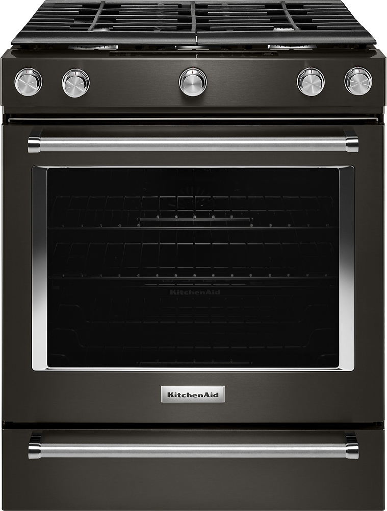 KitchenAid   5.8 Cu. Ft. Slide In Gas Convection Range   Black Stainless  Steel At Pacific Sales