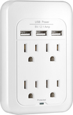 Insignia™ - 4-Outlet 3-USB-Port Power Hub with Surge Protection