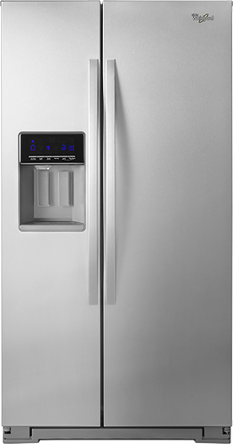 Whirlpool - 20.6 Cu Ft. Counter-Depth Side-by-Side Refrigerator with Thru-the-Door Ice and Water - Monochromatic Stainless Steel
