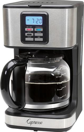 Capresso Sg220 12 Cup Coffee Maker Black Stainless Steel Larger Front