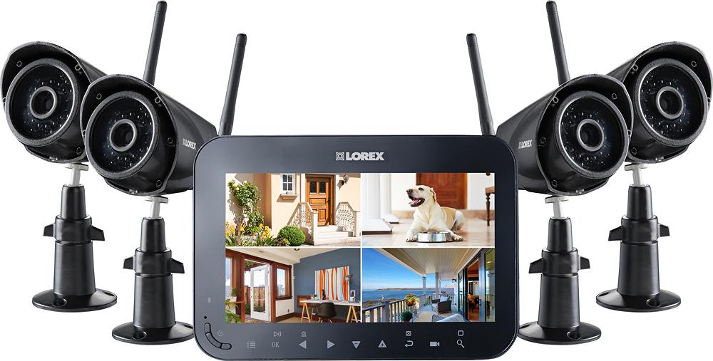 Lorex - 4-Channel, 4-Camera Indoor/Outdoor Wireless DVR Surveillance System - Black