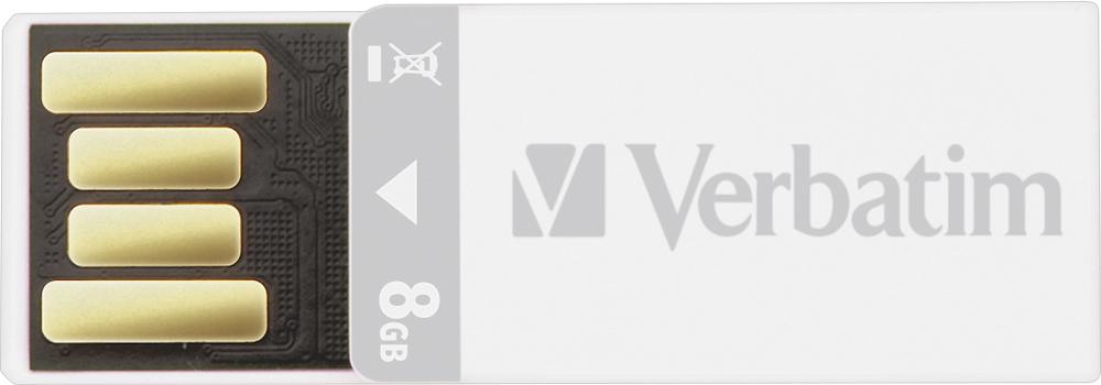 Verbatim - Clip-It 8GB USB 2.0 Flash Drive - White