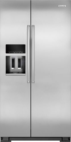 KitchenAid - 22.7 Cu. Ft. Side-by-Side Counter-Depth Refrigerator - Monochromatic Stainless-Steel