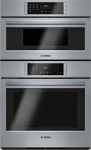 Bosch - 800 Series 30 Single Electric Convection Wall Oven with Built-In Microwave - Stainless Steel