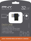 PNY - Duo-Link OTG 32GB USB 2.0/Micro USB Flash Drive - Black/Blue