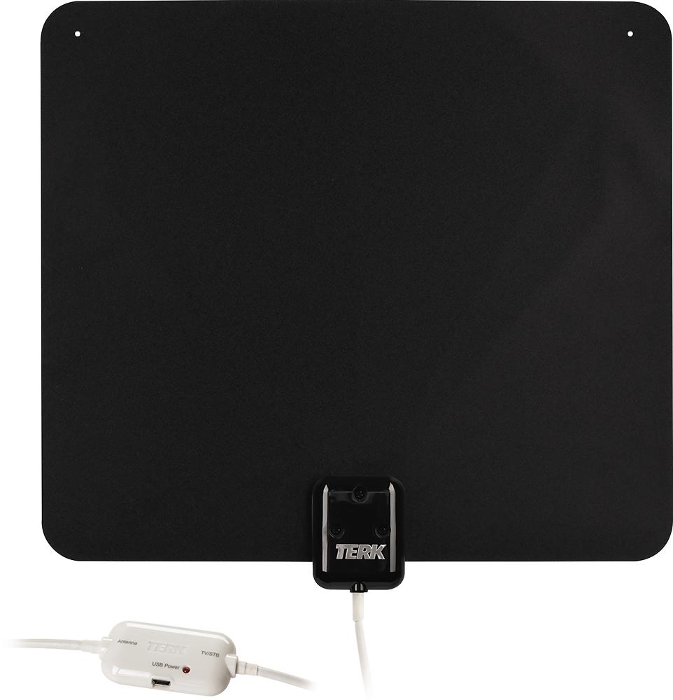 TERK - Ultrathin Indoor Amplified HDTV Antenna - Black/White