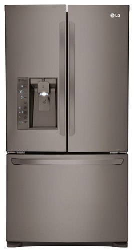 LG - 24.0 Cu. Ft. Counter-Depth French Door Refrigerator - Black Stainless Steel