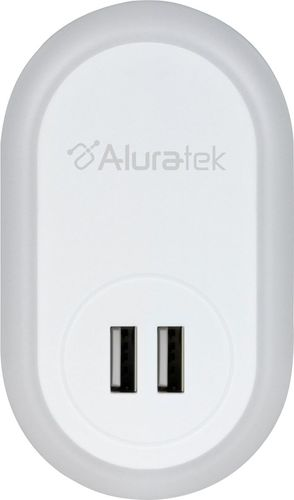 Aluratek Led Nightlight With Dual Usb Charging Ports White Aunl01f