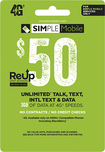 Simple Mobile - $50 Top-Up Prepaid Card - Green