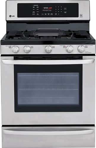 """LG EasyClean 30"""" Self-Cleaning Freestanding Gas Convection Range Stainless Steel LRG3085ST"""