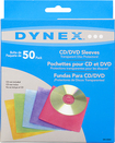 Dynex™ - 50-Pack Color CD/DVD Sleeves - Assorted